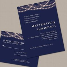 Navy and Gold String Lights Wedding Invitation by PrintParlor on Etsy