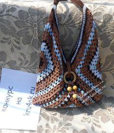 #haken, gratis haakschema, granny square, tas van 3 grote grannies, #haakpatroon (Google vertaal)