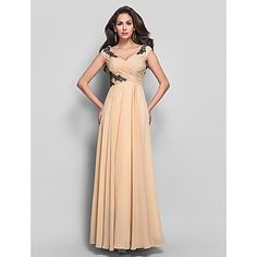 Sheath/Column V-neck Floor-length Appliques Chiffon Evening Dress – USD $ 149.99