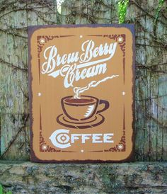 brew berry cream coffee hand painted wood sign home cafe decor - Painted Wood Cafe Decoration