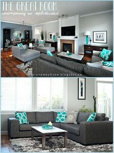 Turquoise Dining Room Ideas Turquoise Rooms Turquoise Living Room Accessories Using Turquoise in Decorating Decorating with Turquoise Accents Accent Colors for Turquoise Teal Living Rooms, Living Room Paint, Living Room Colors, Living Room Grey, Home Living Room, Living Room Designs, Living Room Decor, Living Room Ideas With Grey Couch, Navy Blue And Grey Living Room