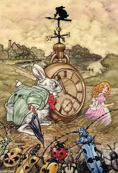 """*WHITE RABBIT & ALICE ~ Angel Dominguez and his illustrations for """"Alice in Wonderland"""" - Fair Masters - handmade, handmade Lewis Carroll, Alicia Wonderland, Adventures In Wonderland, White Rabbit Alice In Wonderland, Alice Rabbit, Alice In Wonderland Illustrations, Inspiration Artistique, Chesire Cat, Alice Madness"""