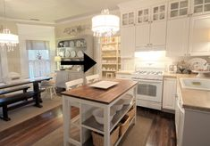 LOVE the glass cabinets up top!Thistlewood farm....neutral kitchen.  So many fun ideas for a farmhouse kitchen.