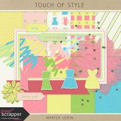 FREE PAPERS Touch of Style Mini Kit fashion clothing yellow green blue pink white