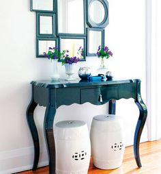 de mesa vieja a consola vintage pintada en verde oscuro