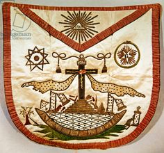 Freemason's apron with masonic and rosicrucian symbols (embroidered silk)