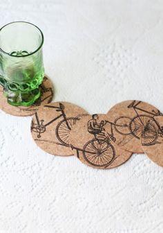 awesome cork bike ride coasters - wedding #dreamwedding #ruchebridal