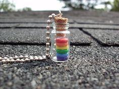 Rainbow bottle Gay pride LGBT Polymer clay disc gaypride lesbian queer on Etsy, $10.00