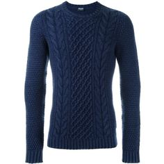 Drumohr cable knit jumper (£210) ❤ liked on Polyvore featuring men's fashion, men's clothing, men's sweaters, blue, mens cable knit sweater, mens chunky cable knit sweater, mens merino wool sweater, mens cable sweater and mens blue sweater