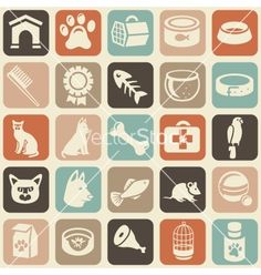 Pattern with funny cat and dog icons vector 1014737 - by venimo on VectorStock®