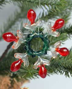 Ornament Fused Glass Snowflake Red and Green by TEN36Designs, $8.95