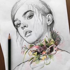 "4,890 Me gusta, 46 comentarios - f ι σ r i λ η g ε γ ε r (@lazy.arts) en Instagram: ""La Bohème🍃🌿 . . . #sketch #drawing #illustration #flower #flowers #portrait #art #portraiture…"""