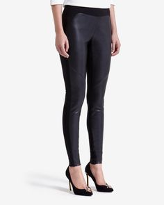 Leather look panelled leggings - Black | Trousers & Shorts | Ted Baker UK