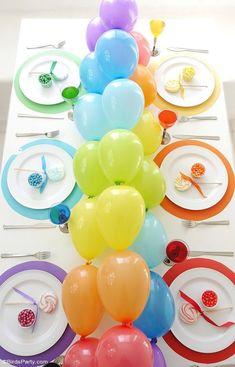 Rainbow Tablescape & DIY Balloon Garland - simple & fun ideas for styling a creative rainbow table with colorful balloon party decor as a table runner! | BirdsParty.com @birdsparty
