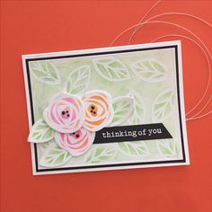 Day three of the Essentials by Ellen and Winnie & Walter Share the Love challenge is all about background building.  EBE Bold Blooms stamps heat embossed with Opaque Bright White embossing powder by WOW! and colored with Zig Clean Color Real Brush markers.  W&W Big Bold You sentiment stamps.