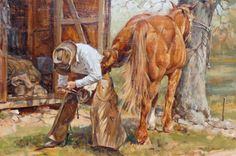 """John Austin Martin ~ """"Honest Day's Work"""" oil, 24 x 36."""