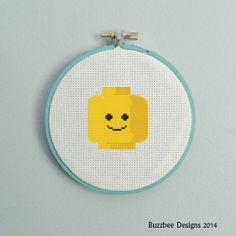 Lego head shot Downloadable PDF cross stitch by Buzzbeedesigns, $3.00