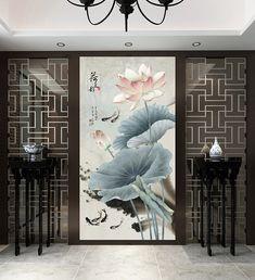 Painting in Indian ink zen flower vertical format Pink lotus and fish 3d Wallpaper Decor, Design Oriental, Chinese Interior, Asian Decor, Mural Art, Luxury Home Decor, Dream Decor, Home Decor Furniture, Art Decor