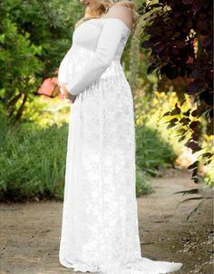 574aee607a3 Elegant Maternity Lace Gauze Off Shoulder Long SLeeves Maxi Dress