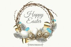 Watercolor Easter Wreaths by Maryna on @creativemarket