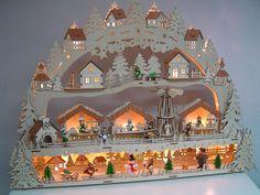 3D LED Lichterbogen Schwibbogen Weihnachtsmarkt + Unterbank Podest 64 cm 10218 | eBay