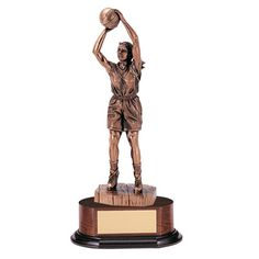 """14"""" electroplated bronze female basketball trophy"""
