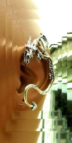 'Dragon In Flight Ear Hug Stud Earring'