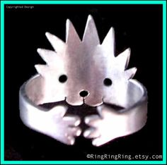 Hedgehog Ring, Adjustable cute Animal Wrap, Sterling silver ring jewelry, (Matte or Shine)