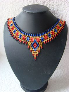 Red blue gold necklace Egyptian collar Egyptian jewelry Seed bead choker Unique gift Party accessory Statement necklace Gift for girlfriend de perlas Diy Necklace Patterns, Beaded Jewelry Patterns, Jewelry Gifts, Handmade Jewelry, Red Jewelry, Long Pearl Necklaces, Gold Necklace, Egyptian Jewelry, African Beads