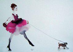 """Saatchi Art Artist Bridget Davies; Painting, """"In Her Pretty Pink Frock - SOLD"""" #art"""