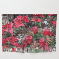 Christmas Surprise, red Wall Hanging by mehrfarbeimleben Red Walls, Natural Looks, Wall Hangings, Yarns, Dorm, Alternative, Tapestry, Make It Yourself, Texture