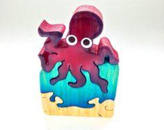 Rojo pulpo Animal Puzzle artesanal decoración juguete Natural mar azul frambuesa