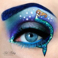 Little Marmaid makeup, i'd just make that mermaid portion a winged eyeliner with a tail, no person, rather than wrapped around the eye