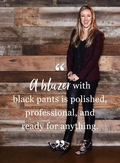 As a reporter on Inside Edition, Megan knows what she's talking about when navigating the professional world and what to wear. A blazer and black pants - easy, pulled-together, and ready to take on the world. Shop her style picks. Fall Outfits, Cute Outfits, Work Attire, Passion For Fashion, Black Pants, Dress To Impress, Autumn Winter Fashion, What To Wear, Retail Price