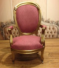 Pink chair, gold wood trim 2