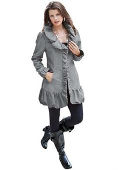 LOVE! Ruffle Trench Jacket | Plus Size Coats and Jackets | Roamans
