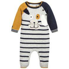 8e8645d1bf09 Catimini - Boys Knitted Grey Dog Babysuit