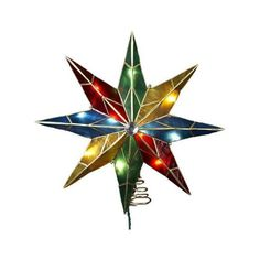"""Kurt Adler 8-Point Star w/ Center Gem Treetop 14"""" ($41) ❤ liked on Polyvore featuring home, home decor, holiday decorations, christmas, decor, kurt adler, christmas home decor, colorful home decor, christmas holiday decorations and brass home decor"""
