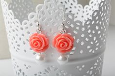Bridesmaid coral roses earrings  coral by BijouxKarmaJewelry, $10.50