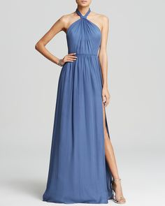 Jill Jill Stuart Gown - High Twist Halter Neck Silk Chiffon Open Back | Bloomingdale's