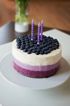 Purple Cakes, Ombre Cake, Let Them Eat Cake, Cheesecakes, Blueberry, Deserts, Food Porn, Food And Drink, Dessert Recipes