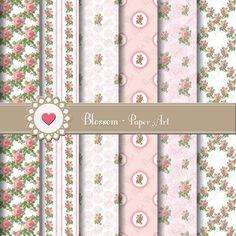 Pink Wedding Roses  Digital Scrapbooking Paper by blossompaperart, $3.50