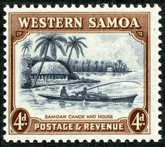 "Samoa   1935 Scott 170 4d black brown & dark gray ""Samoan Canoe and House"""