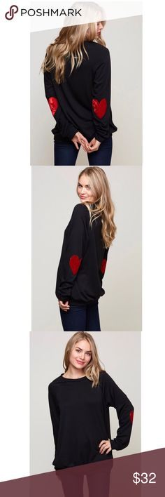 NEW! ❤️Velvet Heart Patch Sweatshirt Cute and comfy black french terry sweatshirt with red velvet heart elbow patches. 86% polyester, 10% rayon, 4% spandex. 💕 Tops Sweatshirts & Hoodies