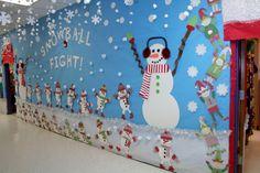 Snowball fight hall way decoration. Christmas Classroom Door, Owl Classroom, Office Christmas Decorations, Classroom Crafts, School Decorations, Christmas Door, Christmas Crafts, School Hallway Displays, Snowball Fight