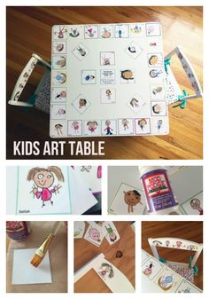 Make a Kids Table with Children's Art. This was made as a fundraiser project for our preschool. I used Mod Podge and kids drawings to create the design.