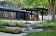 A covered pergola provides more shade and protection against rain or snow