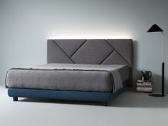Fabric double bed with upholstered headboard OPUS by Caccaro