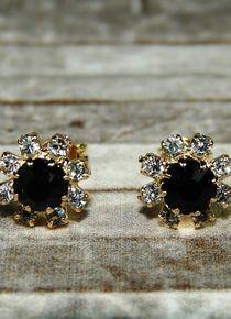 Aros de flor con circones cristial y circón oscuro Diamond Earrings, Stud Earrings, Jewelry, Flower, Dark, Jewelery, Jewellery Making, Earrings, Jewels