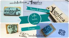 Como hacer sellos a mano. Material: plancha de caucho, gubias, lápiz y papel, taco de madera o tabla de marquetería, y pegamento de contacto o universal.